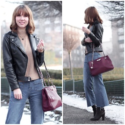 Anastasiia G - Zaful Faux Leather Jacket, H&M Turtleneck Sweater, Reserved Flared Cropped Jeans, Dkny Bag - A Lazy Girl Effortless Outfit