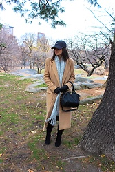 Sami Mauskopf - Abcaps Infinity Cap, Missguided Camel Coat, Urban Outfitters Knit Scarf, Coach Handbag, Public Desire Over The Knee Boots - ABCaps