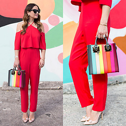 Jenn Lake - Asos Red Ruffle Halter Jumpsuit, Sophie Hulme Rainbow Striped Bag, Salvatore Ferragamo Emy Pumps, Quay Sugar And Spice Sunglasses, Monica Vinader Fiji Chain Bracelet - Red Ruffle Halter Jumpsuit