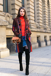 Stephanie Van Klev - Etro Coat, Dorothee Schumacher Pullover, G Star Raw Jeans Skirt, Zara Over The Knee Boots, Chloé Bag - Color Mix