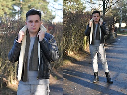 Pawel - Pall Mall Aviator Leather Jacket, Polo Ralph Lauren Sweater, Polo Ralph Lauren Scarf, One Green Elephant Leather Pants, G Star Raw Leather Boots - Last days of January!
