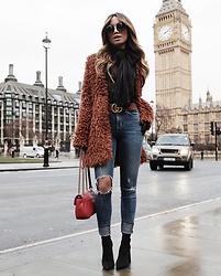 Jessi Malay - House Of Harlow X Revolve Shag Coat, Lovers + Friends Mason Jeans, Tony Bianco Diddy Heels, Gucci Brown Leather Belt, Gucci Leather Shoulder Bag, Majorelle Brigitte Blouse - Teddybear Vibes In London #JMonTheRun