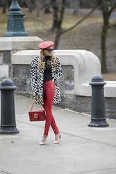 Lauren Recchia - Gucci Beret, Alice + Olivia Coat, L'agence Red Leather Pants, Gucci Marmont Bag, Christian Dior Pumps - Tres Chic