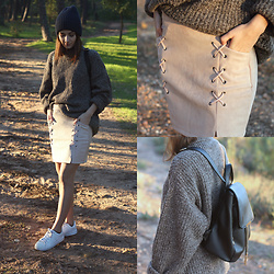 Adriana R. - Dresslily Nude Skirt, Zaful Black Backpack, Pull & Bear Beanie, Adidas Superstar - NUDE SKIRT, LOOSE SWEATER
