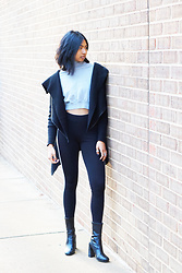 Angelina D'Souza - H&M Turtleneck Crop Top, Forever 21 Asymmetrical Zip Cardigan, Forever 21 Striped Leggings, H&M Sock Boots - Cozy