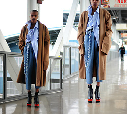Dominic Grizzelle - Dolce Vita Wedges, Levis, Thrift Oversized Button Up, Thrift Trench Coat - Call this # NOW