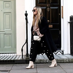 Fashiontwinstinct - H&M Sweater, Saint Laurent Monogramme Bag, Zara Boots, Zara Coat - Pearl Embellished Pants in London.