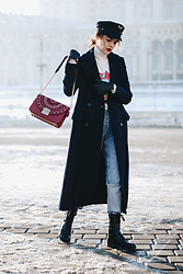 Andreea Birsan - Military Hat, Red Crossbody Bag, Navy Maxi Coat, Graphic T Shirt, White Turtleneck Sweater, Two Tone Boyfriend Jeans, Leather Cut Out Military Boots - A chic way to pull off the military trend this winter II