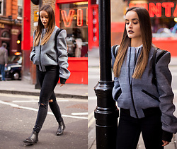 Savina Official - Other Theory Jacket, French Connection Uk Jeans, Schuh Boots - RIPPED JEANS & BOMBER JACKET