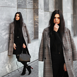 CLAUDIA Holynights - Shein Plaid Coat, Vipme Bag - Plaid coat