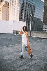 Emma Cortes - American Eagle Outfitters Flowy Tank Top, American Eagle Outfitters Boyfriend Jeans, Dolce Vita Booties, American Eagle Outfitters Cardigan - Somewhere in the City