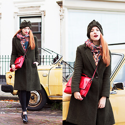 Sonja Vogel - Wtg Olive Green Coat, From Prague Pashmina Scarf, Thrifted Red Bag, Brothers & Sisters Olive Green Turban, Levi's® High Waisted Skinny Jeans, Van Haren Brogue Heels - Urban Turban