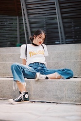 Beverly Tan - Trasher Mag Tee, Converse High Cut - Straight Out Of A Magazine