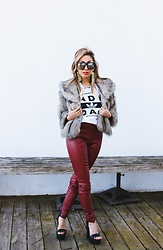 Eliza Romero - Moschino Eartings, Patricia Field Faux Fur Jacket, Adidas X Urban Outfitters Tee Shirt, Zara Red Leather Leggings, Jeffrey Campbell Shoes Platform Sandals - Dope Girl Freshness