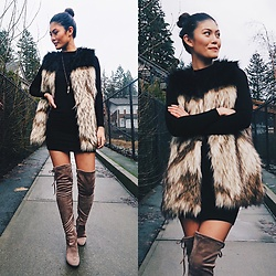 Gabrielle Tan - Aritzia Fur Vest, American Apparel Dress, Catherine Malandrino Boots - Boots with the fur