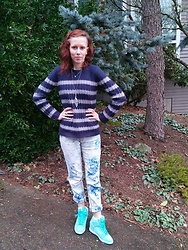 Kaia Kirk - Mango Navy + Gray Striped Sweater, Nike Turquoise Airs - The Boyfriend Look