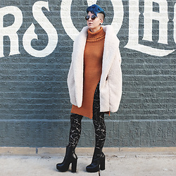 Jessie Barber - Shein Hooded Dolman Sleeve Faux Fur Jacket, Dressystar Collar Side Slit Sweater, H&M Marble Leggings, Zara Platform Boots, Madewell Fest Aviator Sunglasses - Cloud Nine