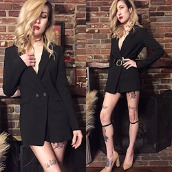 Brittany Bao - Nasty Gal Tux Romper, Creepyyeeha O Ring Belt, Creepyyeeha Leg Cuffs, Nasty Gal Nude Pumps - Strictly Buisness