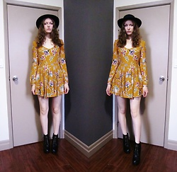 Raquel Teichroeb - Urban Outfitters Floral Dress, Wool Hat, Platform Boots - Real Love Baby