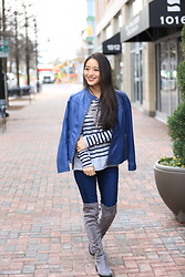 Kimberly Kong - Style & Co Moto Jacket, Boohoo Over The Knee Boots, Stitch Fix Striped Sweater - How-to Transform Your Everyday Look in Seconds