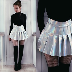 Imogen De Souza - Topshop Turtle Neck, Ebay Skirt, Asos Over The Knee Socks - Holographic