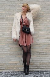 Sabine K - Pepe Jeans Fake Fur Jacket, Picard Handbag, H&M Dress And Tights, Zara Ankle Boots - Velvet Disco