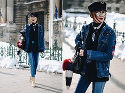 Andreea Birsan - Military Hat, Mirrored Sunglasses, Neck Scarf, Turtleneck Sweater, Pinstripe Blazer, Furla Linda S Tote Bag, Fur Charms, Two Tone Step Hem Mom Jeans, Gold Metallic Ankle Boots, Denim Jacket - The secret trick to pulling off the denim on denim trend