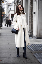 Nicole Dominique - White Coat, Revolve White Turtleneck, Cylinder Bag, Joe's Jeans, River Island Sock Boots - Warm Winter Whites