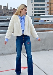 Dani Mikaela McGowan - Topshop White Faux Fur Jacket, Madewell High Waisted Flare Jeans, J. Crew Blue Botton Up Blouse, Sam Edelman Floral Booties - Pretty Kitty