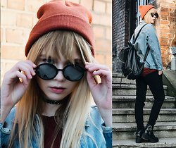 Magdalena Olczak - H&M Sunglasses, Bershka Beanie, Bershka Jeans Jacket, River Island Pants, Stradivarius Choker - Oasis - Part of the Queue | leftchoice
