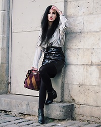 Narjisse Ammor - Audaviv Bangle, All Saints Top, Maje Skirt, Maje Bag, The Kooples Boots - Vinyl Power