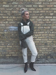 Nina Kristine - Jeffrey Campbell Shoes Boots, Dickies Overalls, Missguided Hoodie, Free People Earrings - Springin