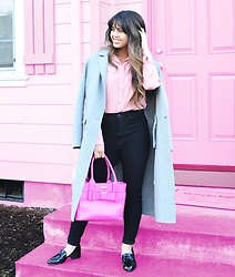Melany - Kate Spade Handbag, Rebecca Minkoff Edie Loafer, Uniqlo High Rise Ankle Jeans In Black, Equipment Button Up Blouse - Pink World