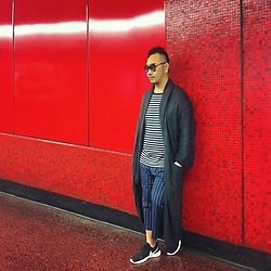 Mannix Lo - H&M Long Knit Outer, Uniqlo Stripes Tee, Nike Roshe Run Sneakers - Balance Stripes
