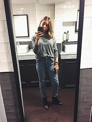 Maria Dinca - Uniqlo Grey Sweater, Topshop Mom Jeans, Topshop Black Leather Boots - Casual