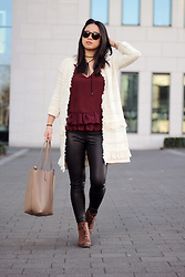 Sandy L. - Mango Ruffle Cardigan, Nelly Top, Bershka Fake Leather Pants, Zara Bag - Ruffles & Fringes