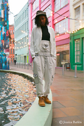 N.EE.H Hamilton - Zara White Bomber Jacket, Atmosphere Vest Top, Zara Basics Dungarees, Primark Boots - Throwback To The 90's
