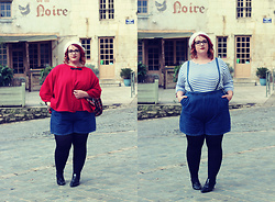 Audrey G. - Mlletipoi Red Cape Coat, Balsamik Stripped Top, Asos Curve Jean Shorts, André Oxford Shoes, Beauxoxo White Beret - French touch