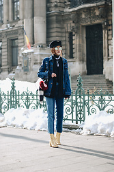 Andreea Birsan - Military Hat, Two Tone Step Hem Mom Jeans, Distressed Denim Jacket, Gold Metallic Ankle Boots, Black Tote Bag, Fur Charms, Pinstripe Blazer, Turleneck Sweater, Mirrored Sunglasses, Neck Scarf - The secret trick to pulling off the denim on denim trend II
