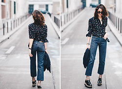 Laugh of Artist - The Kooples Blouse, Levis Jean, She In Plateform - Plateform x printed blouse