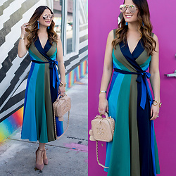 Jenn Lake - Diane Von Furstenberg Penelope Wrap Dress, Chanel Vanity Case Bag, Baublebar Pinata Tassel Earrings, Quay High Key Sunglasses, Steve Madden Pamperd Pumps, Giles And Brother Cortina Cuff - DVF Penelope Wrap Dress