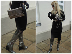 Alice Liddell - Pollini Metallic Boots, Debenhams Clutch - The devil is in the details
