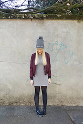 Ingrid O - Zara Stripy Dress, Stradivarius Bomber Jacket, That Scandinavian Feeling Hygge Beanie - Hygge feeling