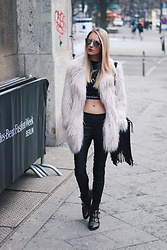 Laura Simon - River Island Faux Fur Rose, Christian Dior Green Gold, Calvin Klein Black Crop Shirt, Mango Leather Pants, Lemare Black Boots - Faux Fur x Calvin Klein