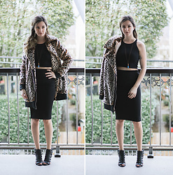 Kassy D - Noisy May Faux Leopard Fur Coat, Forever 21 Strappy Sandals, American Apparel Black Cotton Crop Top, Forever 21 Black Pencil Skirt, Wolf Circus Opal Bullet Necklace - Spots & Solids