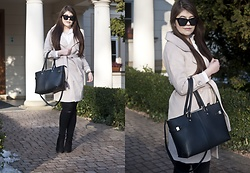Feather P - Zaful Coat, Mohito Bag, Zara Pants - WOOLEN LAPEL COLLAR BELTED COAT