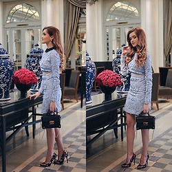 Cristina Gheiceanu - Vipme Dress, Romwe Bag, Vipme Earrings - Baby blue!