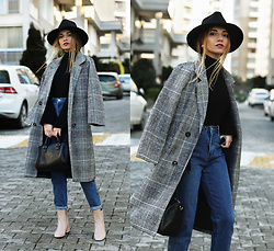 Melike Gül - Sheinside Plaid Coat, Dresslink Fedora Hat, Romwe Flared Sleeve Knit, Zara Mom Jeans, Zaful Earings, Romwe Boots - Simply Basics