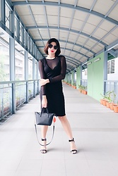 Cassey Cakes - Mango Black Dress, H&M Sheer Top - Walkway