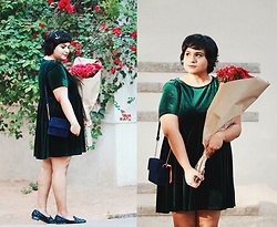 Ragini R - Alice &You Green Velvet Smock Dress, New Look Quilted Velvet Bag, Asos Sequin Slippers - Double Velvet